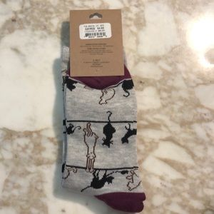 k. bell Other - K. Bell women's crew sock. Gray with cats.
